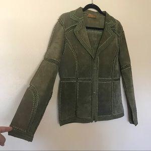 Leather crochet blazer
